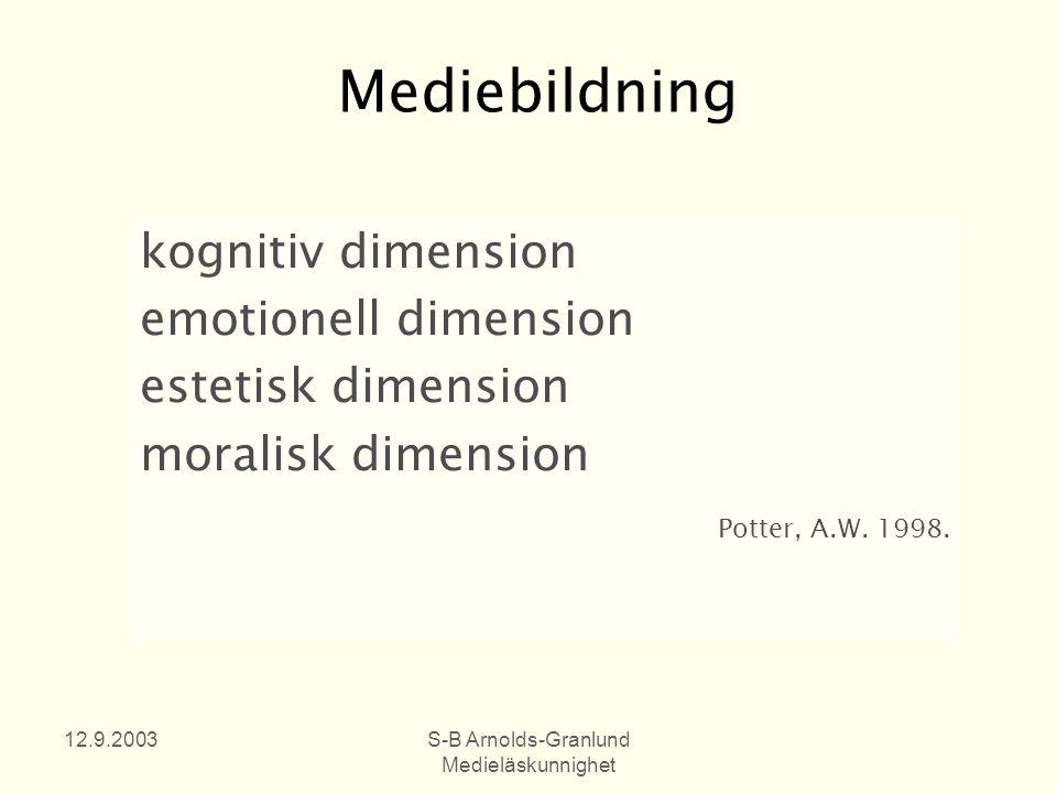 12.9.2003S-B Arnolds-Granlund Medieläskunnighet Mediebildning kognitiv dimension emotionell dimension estetisk dimension moralisk dimension Potter, A.W.