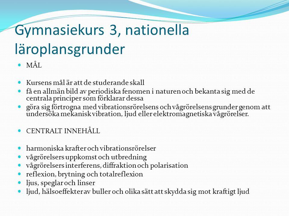 Gymnasiekurs 3, nationella läroplansgrunder MÅL Kursens mål är att de studerande skall få en allmän bild av periodiska fenomen i naturen och bekanta s