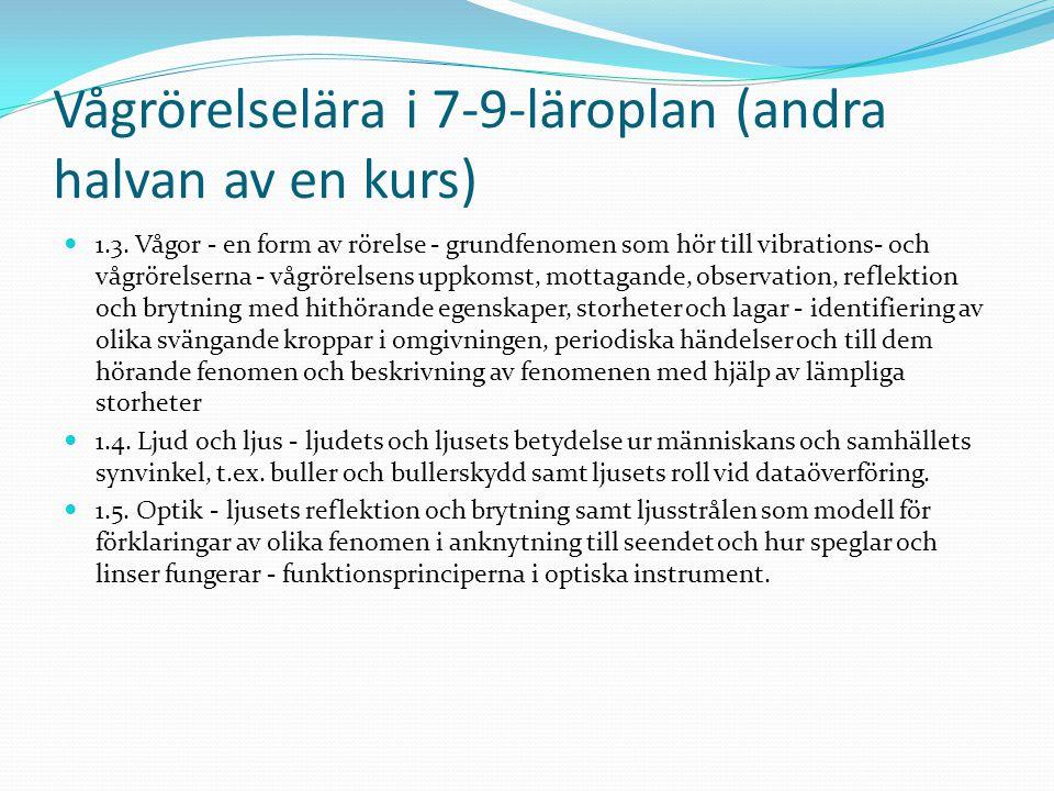 Vågrörelselära i 7-9-läroplan (andra halvan av en kurs) 1.3.