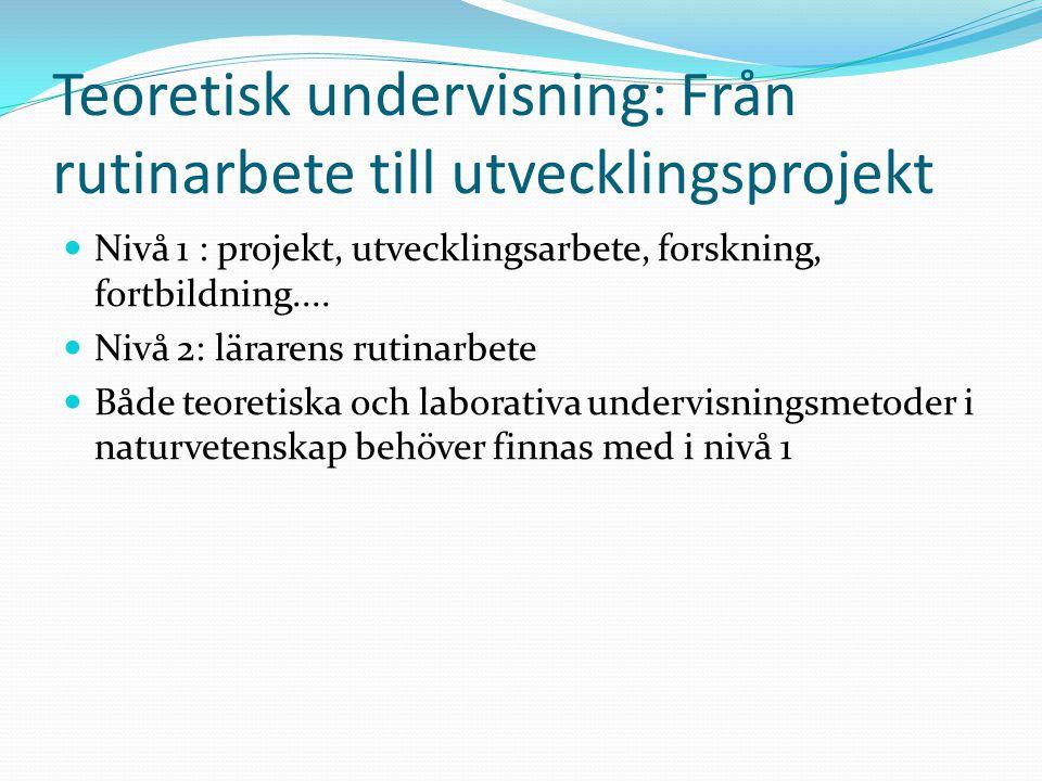 Teoretisk undervisning: Från rutinarbete till utvecklingsprojekt Nivå 1 : projekt, utvecklingsarbete, forskning, fortbildning.... Nivå 2: lärarens rut