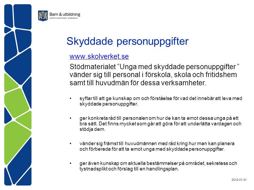 www.skolverket.se Stödmaterialet Unga med skyddade personuppgifter vänder sig till personal i förskola, skola och fritidshem samt till huvudmän för dessa verksamheter.