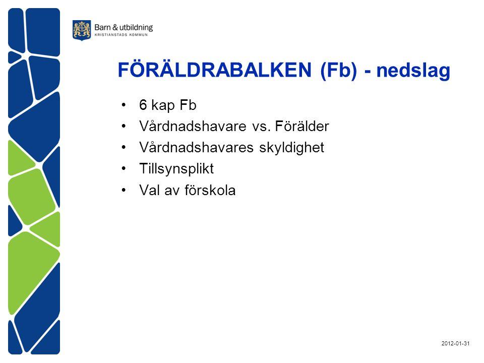 FÖRÄLDRABALKEN (Fb) - nedslag 6 kap Fb Vårdnadshavare vs.
