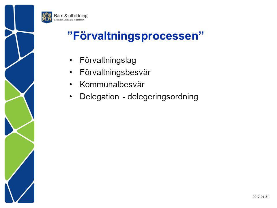 Förvaltningsprocessen Förvaltningslag Förvaltningsbesvär Kommunalbesvär Delegation - delegeringsordning 2012-01-31