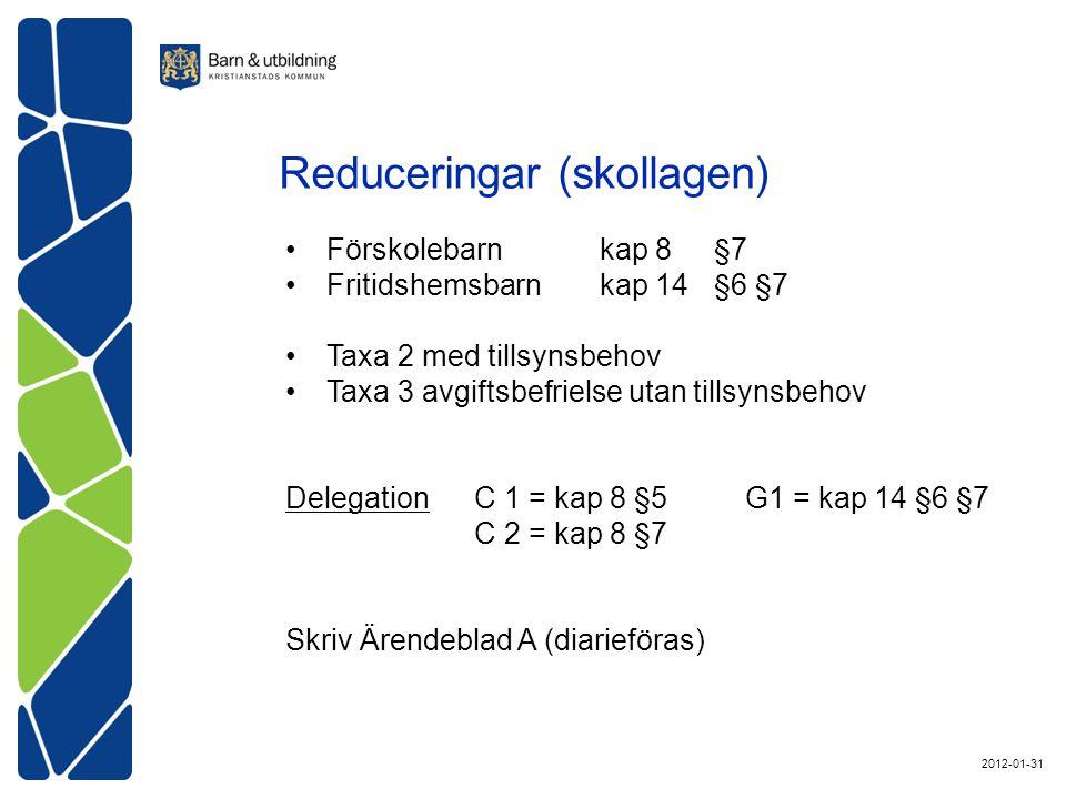 Förskolebarn kap 8§7 Fritidshemsbarn kap 14 §6 §7 Taxa 2 med tillsynsbehov Taxa 3 avgiftsbefrielse utan tillsynsbehov DelegationC 1 = kap 8 §5G1 = kap 14 §6 §7 C 2 = kap 8 §7 Skriv Ärendeblad A (diarieföras) Reduceringar (skollagen) 2012-01-31