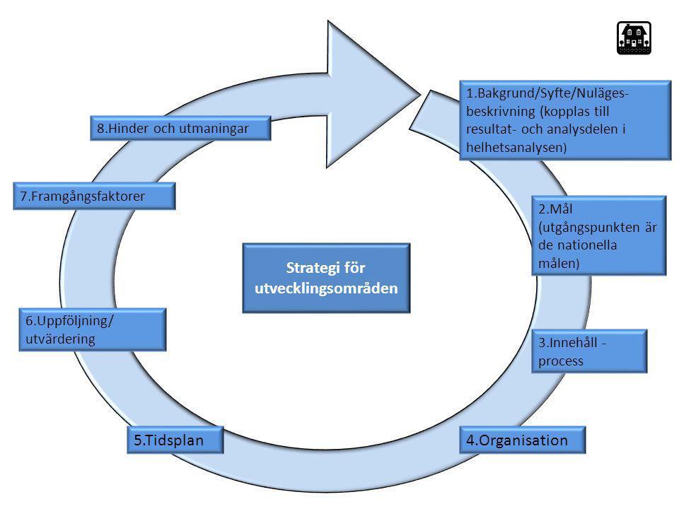 Strategi 1.Bakgrund/Syfte/Nuläges- beskrivning (kopplas till resultat- och analysdelen i helhetsanalysen ) 2.Mål (utgångspunkten är de nationella måle