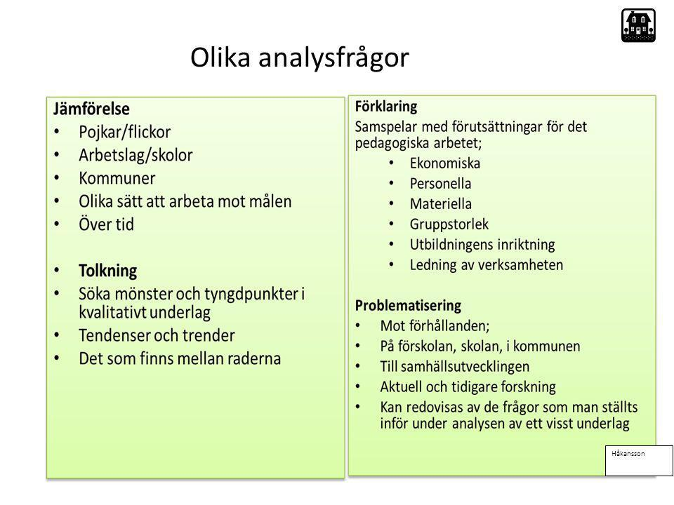 Olika analysfrågor Håkansson
