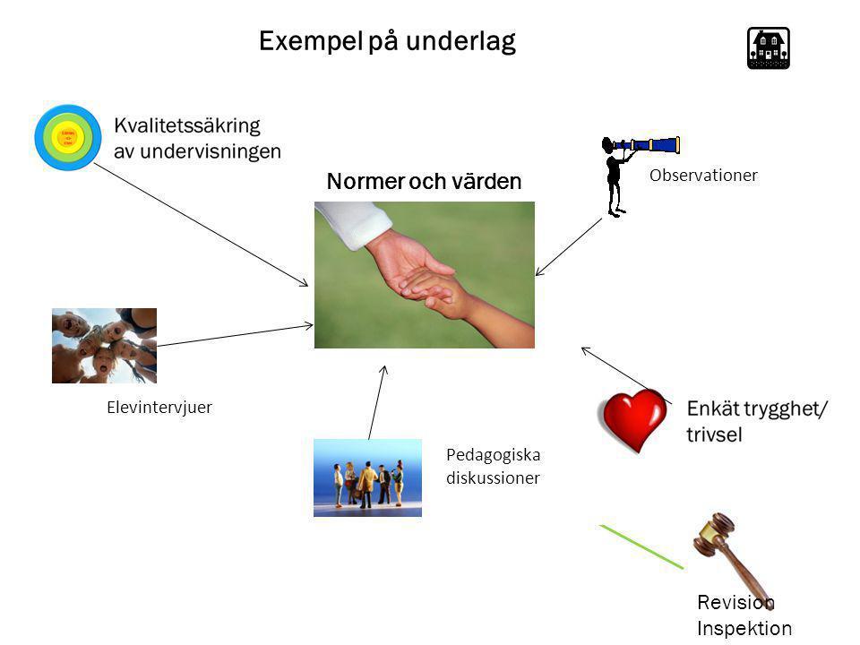 Exempel på underlag Elevintervjuer Revision Inspektion Observationer Pedagogiska diskussioner Normer och värden