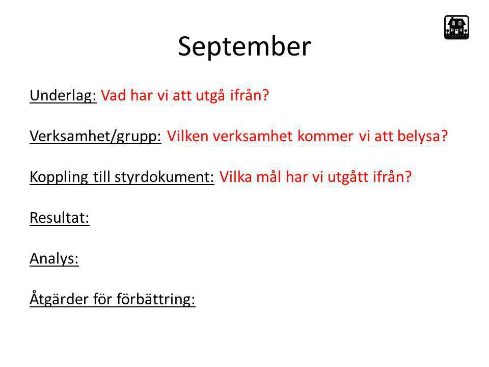 September Underlag: Vad har vi att utgå ifrån? Verksamhet/grupp: Vilken verksamhet kommer vi att belysa? Koppling till styrdokument: Vilka mål har vi