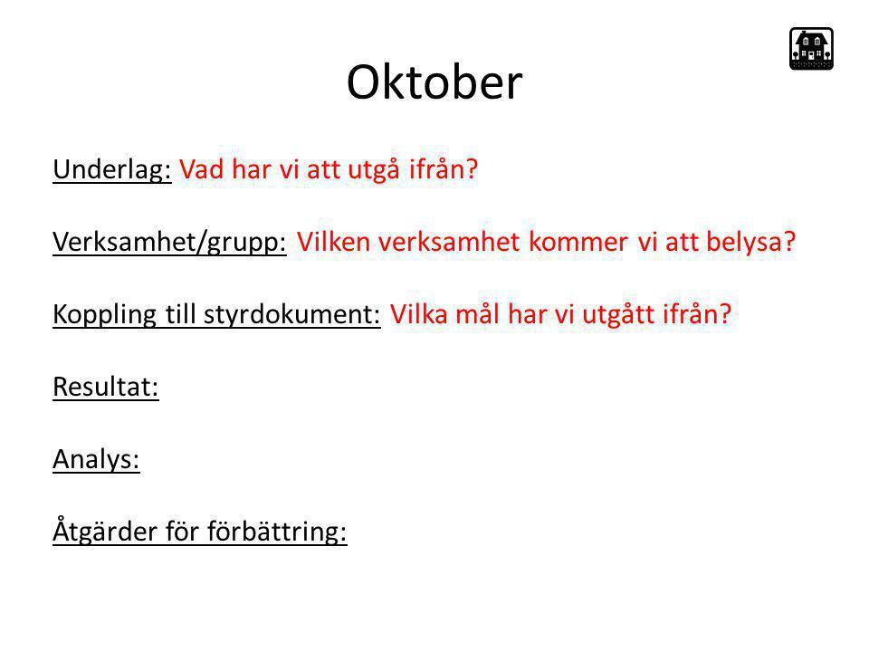 Oktober Underlag: Vad har vi att utgå ifrån? Verksamhet/grupp: Vilken verksamhet kommer vi att belysa? Koppling till styrdokument: Vilka mål har vi ut