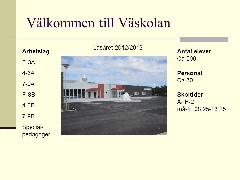 Välkommen till Väskolan Arbetslag F-3A 4-6A 7-9A F-3B 4-6B 7-9B Special- pedagoger Antal elever Ca 500 Personal Ca 50 Skoltider År F-2 må-fr 08.25-13.