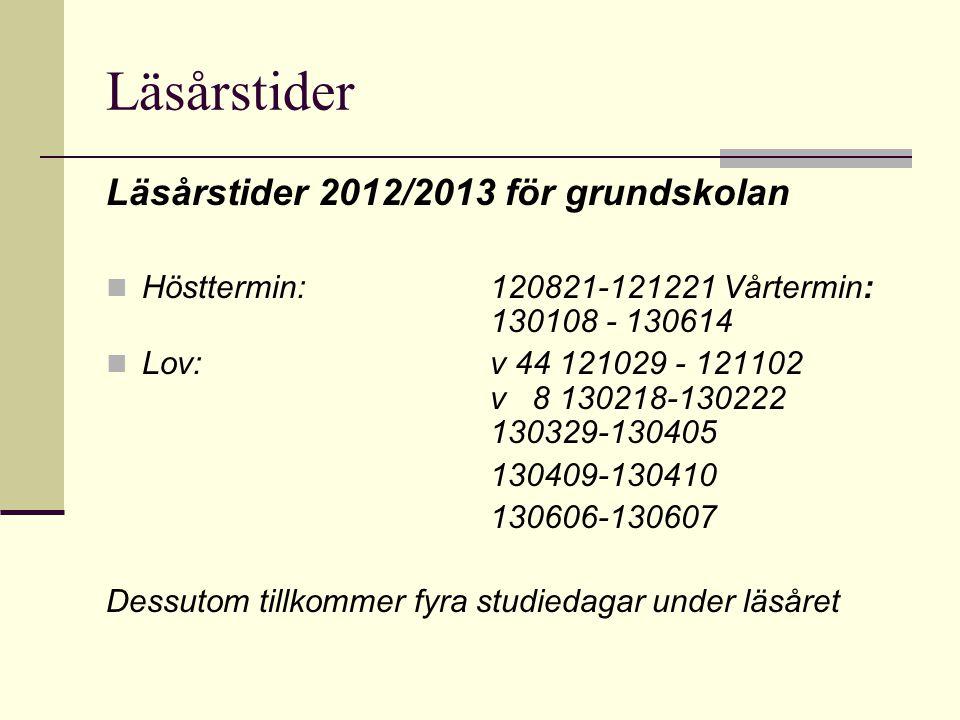Läsårstider Läsårstider 2012/2013 för grundskolan Hösttermin: 120821-121221 Vårtermin: 130108 - 130614 Lov:v 44 121029 - 121102 v 8 130218-130222 1303