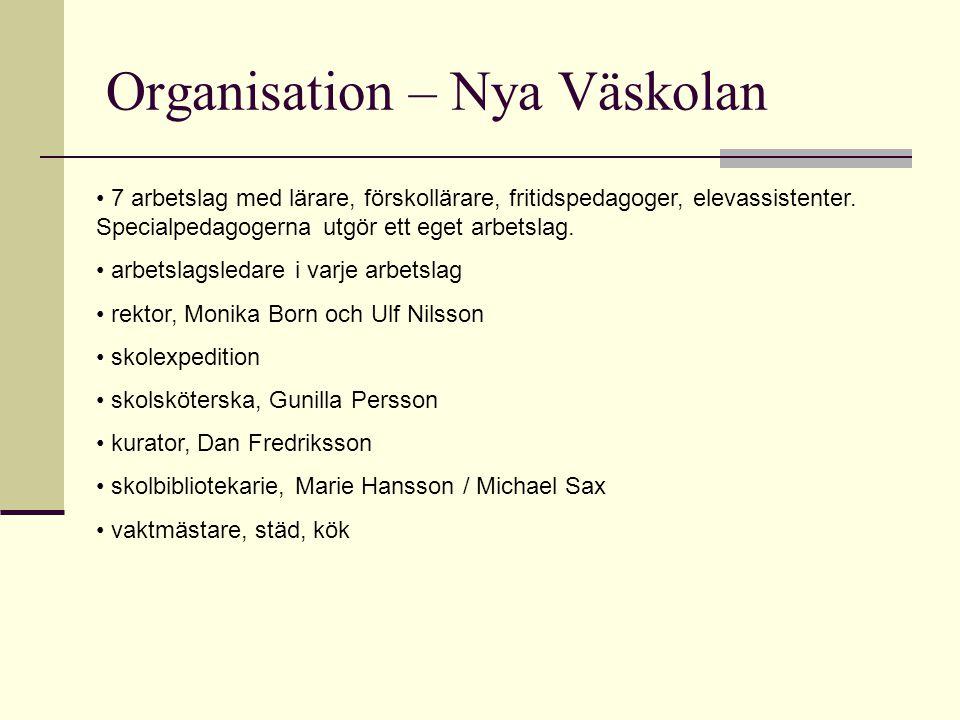 Organisation – Nya Väskolan 7 arbetslag med lärare, förskollärare, fritidspedagoger, elevassistenter. Specialpedagogerna utgör ett eget arbetslag. arb