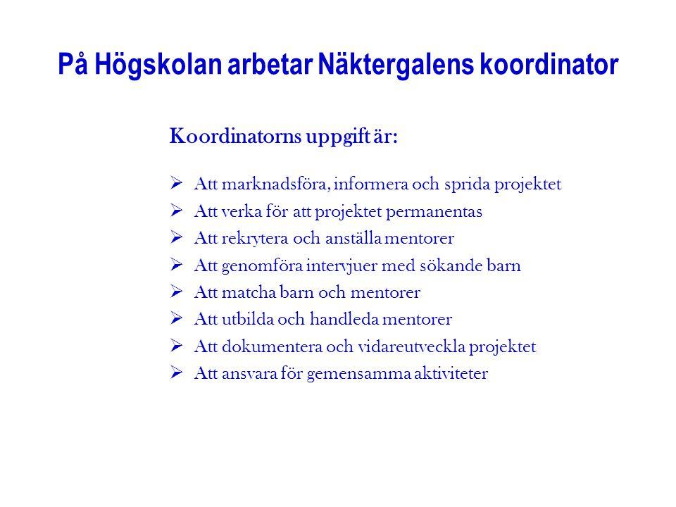 På Högskolan arbetar Näktergalens koordinator Koordinatorns uppgift är:  Att marknadsföra, informera och sprida projektet  Att verka för att projekt