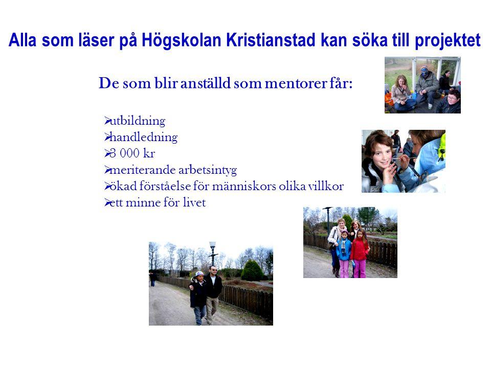 Alla som läser på Högskolan Kristianstad kan söka till projektet De som blir anställd som mentorer får:  utbildning  handledning  3 000 kr  merite