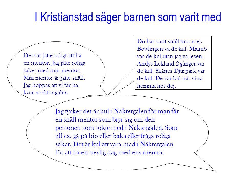 I Kristianstad säger barnen som varit med Det var jätte roligt att ha en mentor. Jag jätte roliga saker med min mentor. Min mentor är jätte snäll. Jag