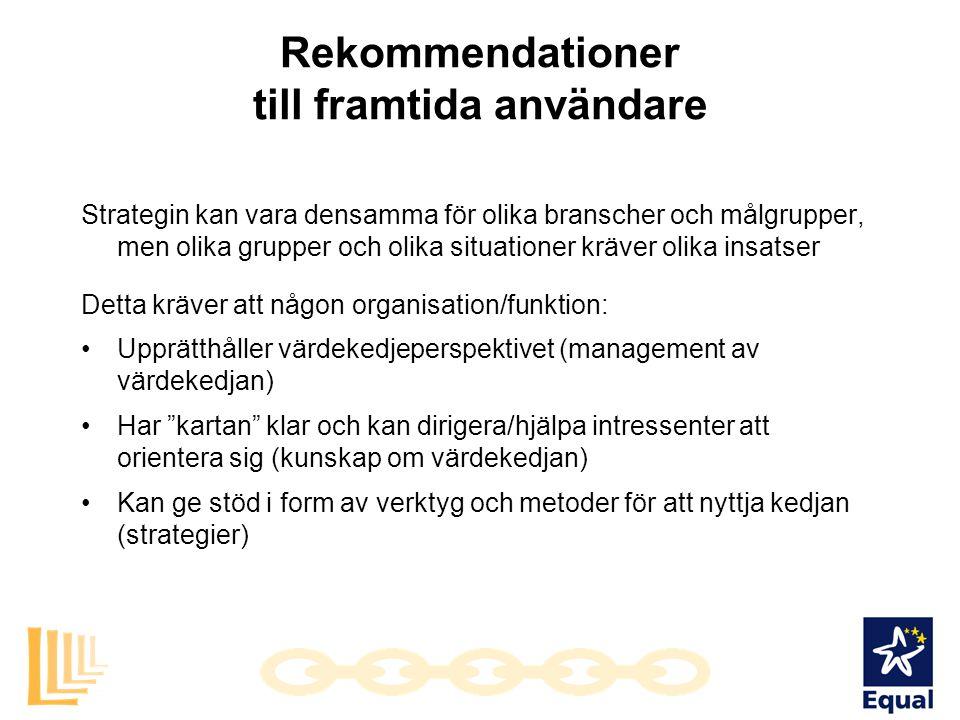 Rekommendationer till framtida användare Strategin kan vara densamma för olika branscher och målgrupper, men olika grupper och olika situationer kräve