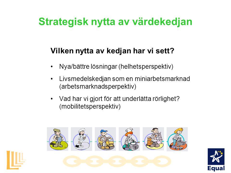 Strategisk nytta av värdekedjan Vilken nytta av kedjan har vi sett? Nya/bättre lösningar (helhetsperspektiv) Livsmedelskedjan som en miniarbetsmarknad
