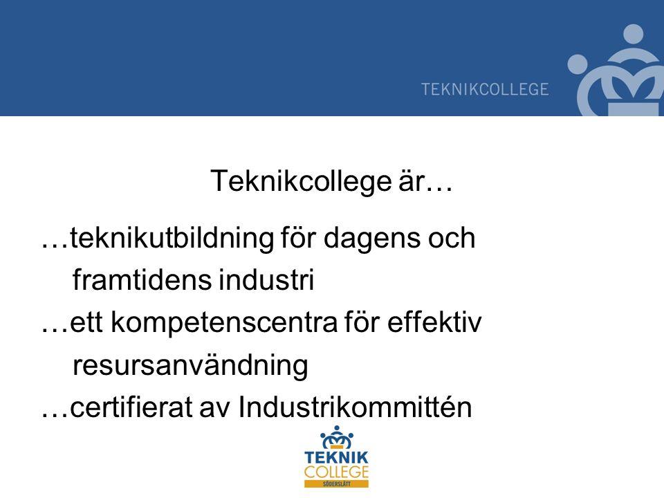 Teknikcollege är… …teknikutbildning för dagens och framtidens industri …ett kompetenscentra för effektiv resursanvändning …certifierat av Industrikommittén