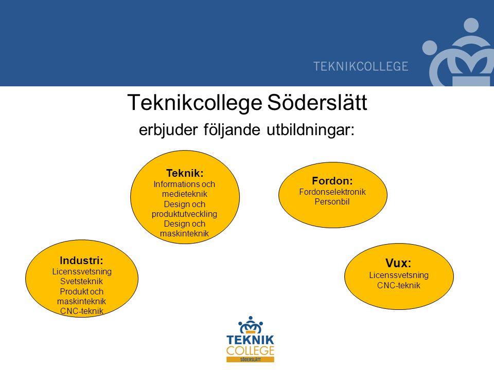 Teknikcollege Söderslätt erbjuder följande utbildningar: Teknik: Informations och medieteknik Design och produktutveckling Design och maskinteknik For
