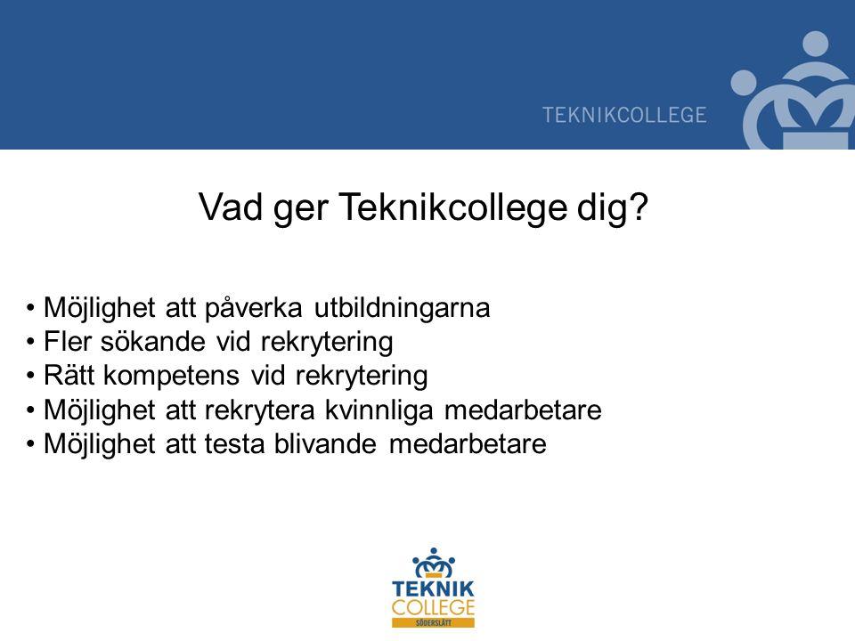 Vad ger Teknikcollege dig? Möjlighet att påverka utbildningarna Fler sökande vid rekrytering Rätt kompetens vid rekrytering Möjlighet att rekrytera kv
