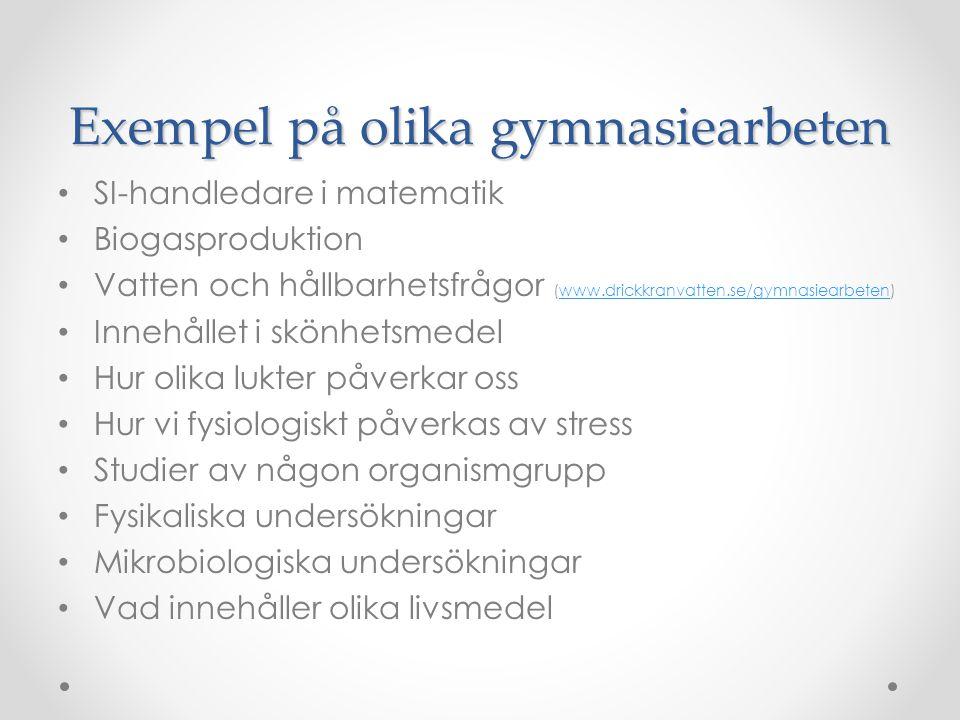 Exempel på olika gymnasiearbeten SI-handledare i matematik Biogasproduktion Vatten och hållbarhetsfrågor (www.drickkranvatten.se/gymnasiearbeten)www.d