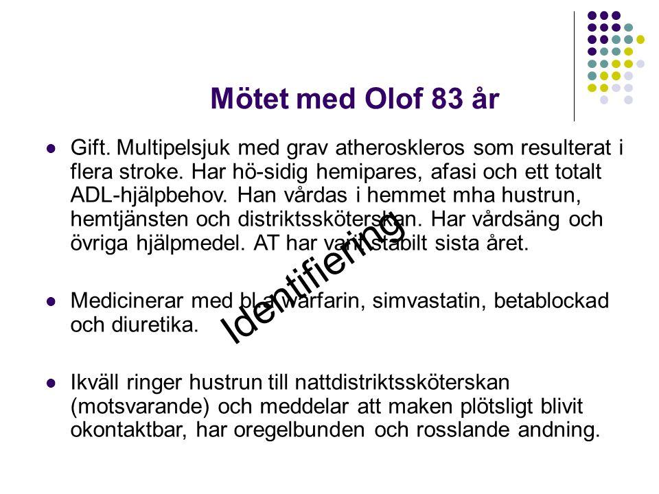 Mötet med Olof 83 år Gift.Multipelsjuk med grav atheroskleros som resulterat i flera stroke.
