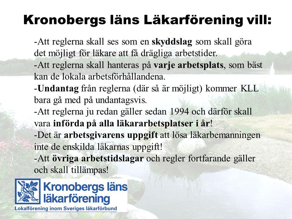 Kronobergs läns Läkarförening vill: -Att reglerna skall ses som en skyddslag som skall göra det möjligt för läkare att få drägliga arbetstider.