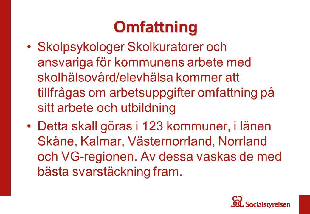 Omfattning Skolpsykologer Skolkuratorer och ansvariga för kommunens arbete med skolhälsovård/elevhälsa kommer att tillfrågas om arbetsuppgifter omfattning på sitt arbete och utbildning Detta skall göras i 123 kommuner, i länen Skåne, Kalmar, Västernorrland, Norrland och VG-regionen.