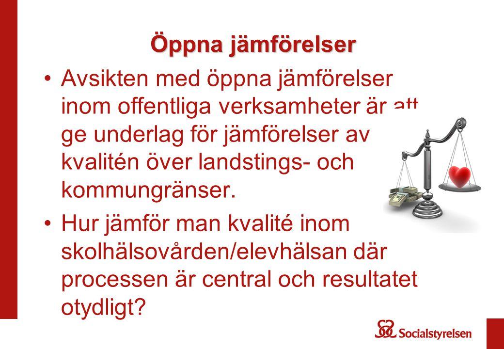 Öppna jämförelser Avsikten med öppna jämförelser inom offentliga verksamheter är att ge underlag för jämförelser av kvalitén över landstings- och kommungränser.