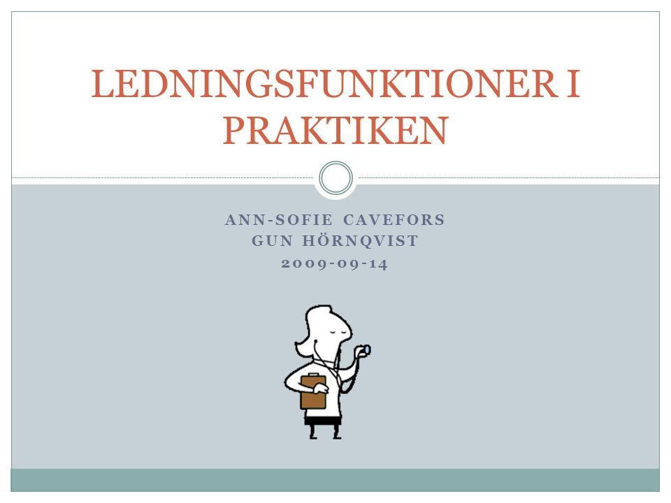ANN-SOFIE CAVEFORS GUN HÖRNQVIST 2009-09-14 LEDNINGSFUNKTIONER I PRAKTIKEN