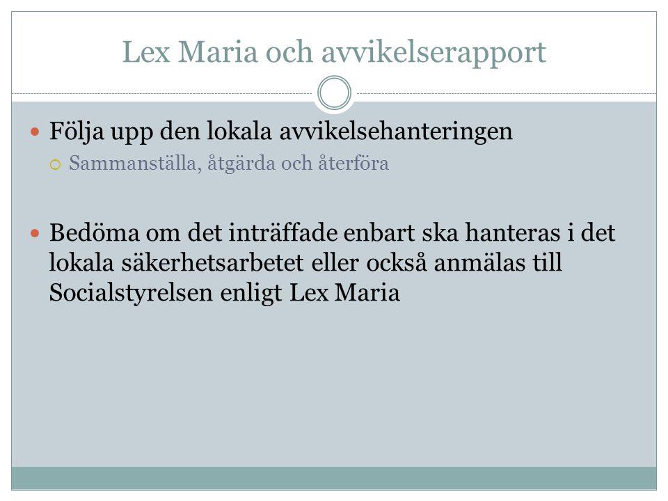 Lex Maria och avvikelserapport Följa upp den lokala avvikelsehanteringen  Sammanställa, åtgärda och återföra Bedöma om det inträffade enbart ska hant