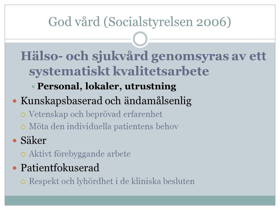 God vård (Socialstyrelsen 2006) Hälso- och sjukvård genomsyras av ett systematiskt kvalitetsarbete  Personal, lokaler, utrustning Kunskapsbaserad och
