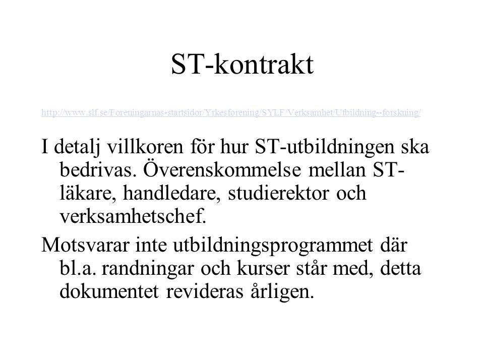 ST-kontrakt http://www.slf.se/Foreningarnas-startsidor/Yrkesforening/SYLF/Verksamhet/Utbildning--forskning/ I detalj villkoren för hur ST-utbildningen