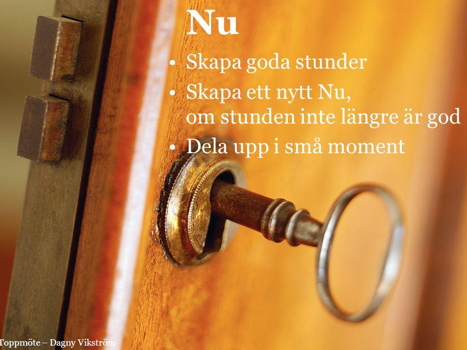 Nu Skapa goda stunder Skapa ett nytt Nu, om stunden inte längre är god Dela upp i små moment Toppmöte – Dagny Vikström