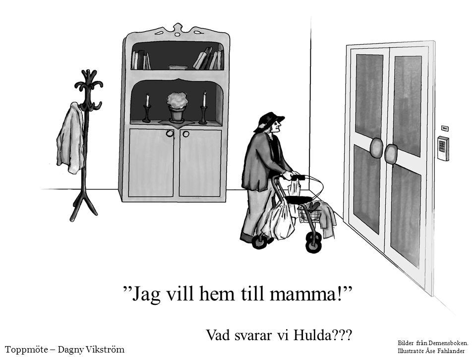 """""""Jag vill hem till mamma!"""" Vad svarar vi Hulda??? Bilder från Demensboken. Illustratör Åse Fahlander Toppmöte – Dagny Vikström"""