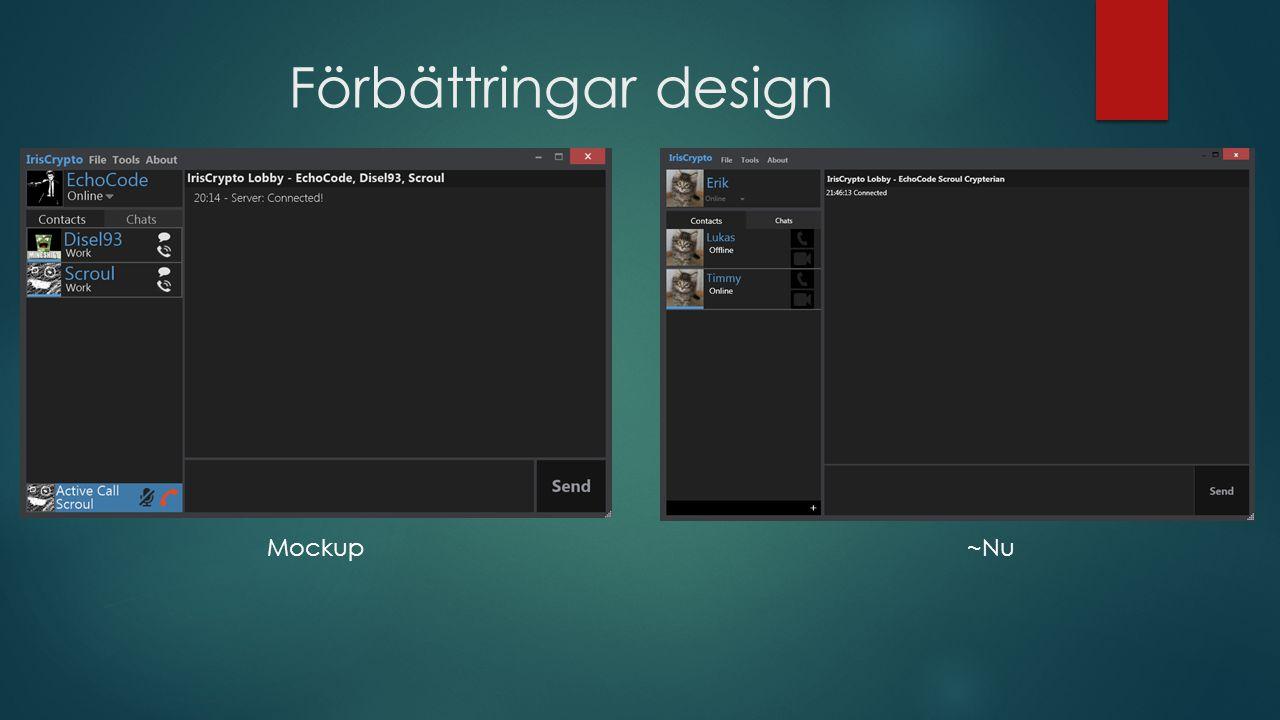Förbättringar design Mockup~Nu