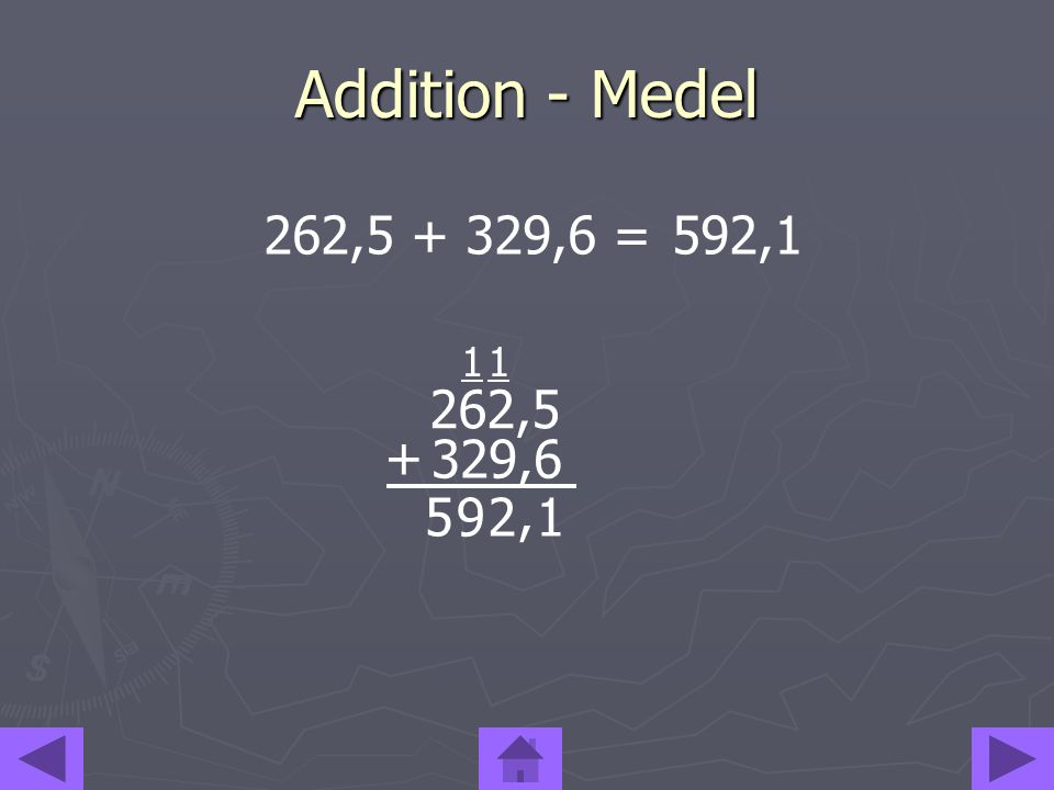 Addition - Medel 262,5 + 329,6 =592,1 1, 5 921 1 262,5 329,6 +