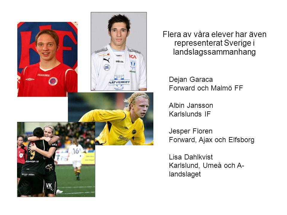 Flera av våra elever har även representerat Sverige i landslagssammanhang Dejan Garaca Forward och Malmö FF Albin Jansson Karlslunds IF Jesper Floren Forward, Ajax och Elfsborg Lisa Dahlkvist Karlslund, Umeå och A- landslaget