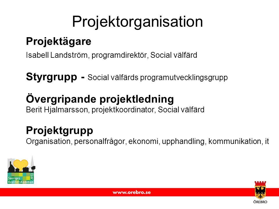 Projektorganisation Projektägare Isabell Landström, programdirektör, Social välfärd Styrgrupp - Social välfärds programutvecklingsgrupp Övergripande p