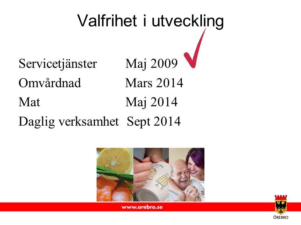 Valfrihet i utveckling Servicetjänster Maj 2009 Omvårdnad Mars 2014 Mat Maj 2014 Daglig verksamhet Sept 2014