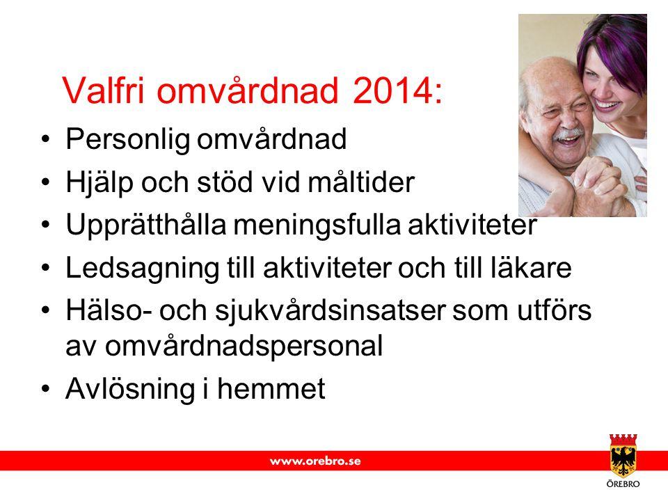Valfri omvårdnad 2014: Personlig omvårdnad Hjälp och stöd vid måltider Upprätthålla meningsfulla aktiviteter Ledsagning till aktiviteter och till läka