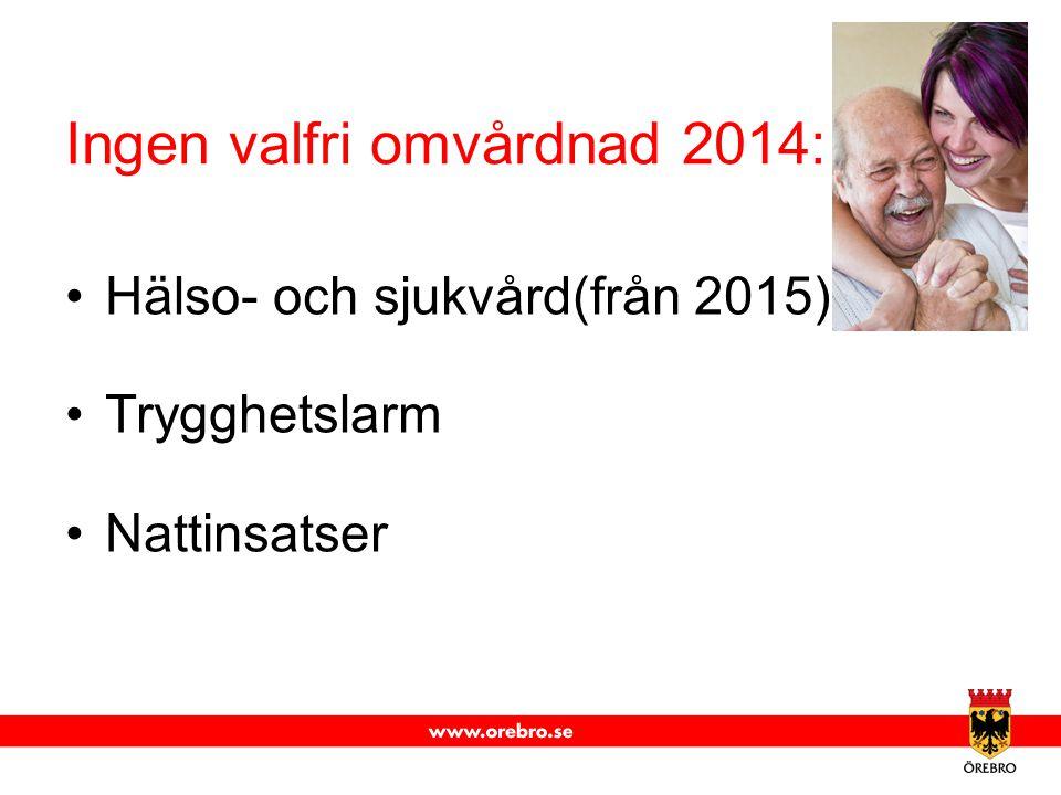 Ingen valfri omvårdnad 2014: Hälso- och sjukvård(från 2015) Trygghetslarm Nattinsatser