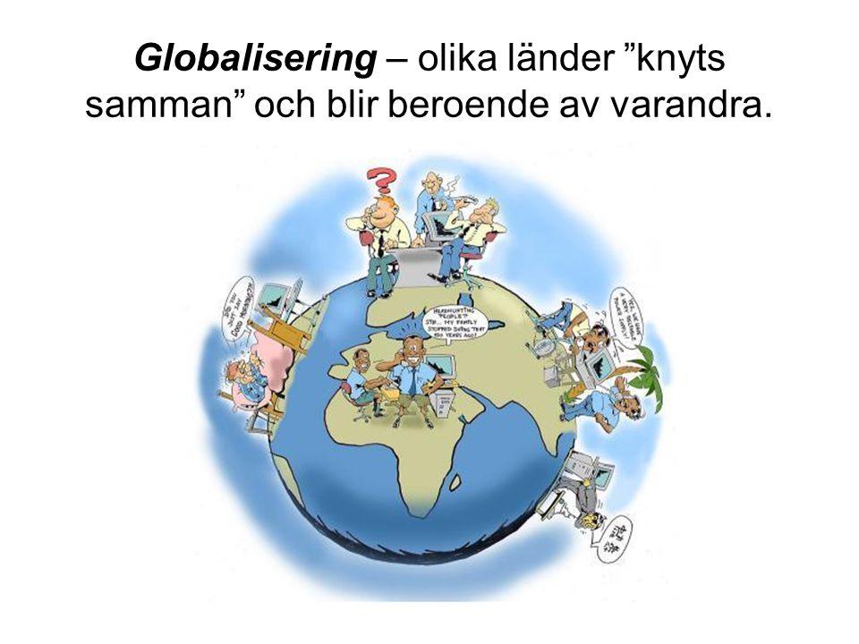 """Globalisering – olika länder """"knyts samman"""" och blir beroende av varandra."""