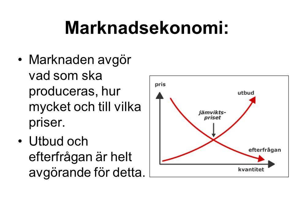Marknadsekonomi: Marknaden avgör vad som ska produceras, hur mycket och till vilka priser. Utbud och efterfrågan är helt avgörande för detta.