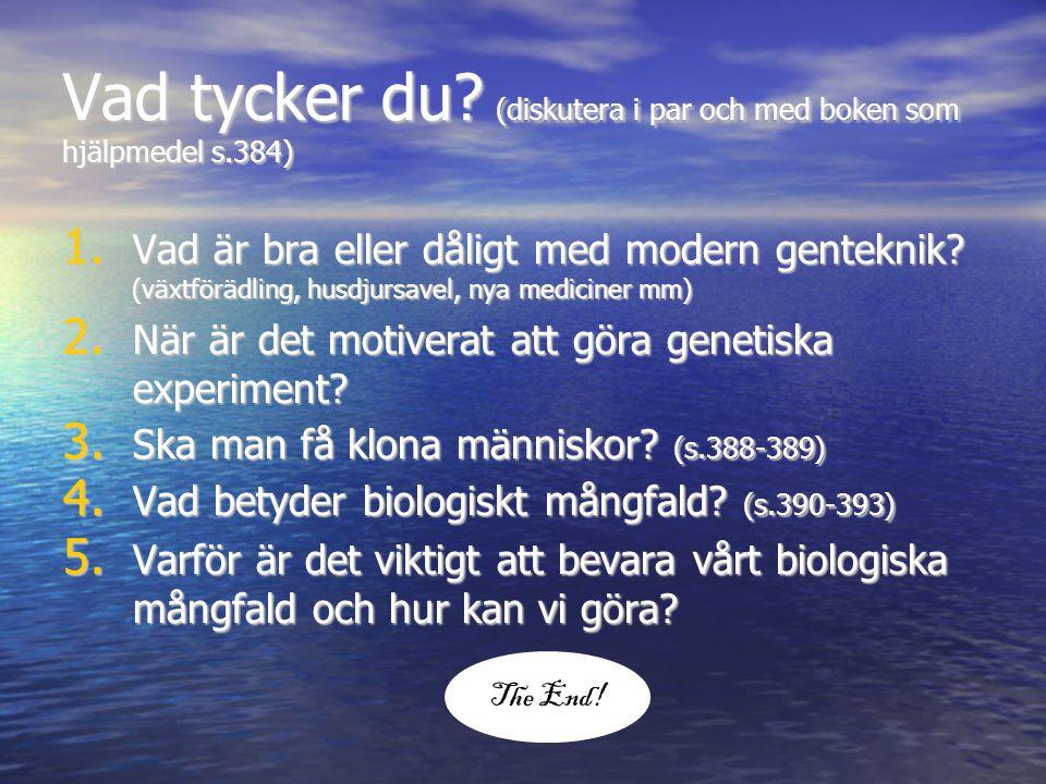 Vad tycker du? (diskutera i par och med boken som hjälpmedel s.384) 1. Vad är bra eller dåligt med modern genteknik? (växtförädling, husdjursavel, nya