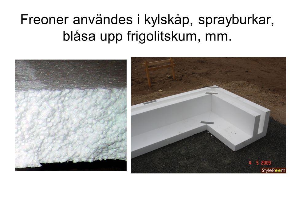 Freoner användes i kylskåp, sprayburkar, blåsa upp frigolitskum, mm.