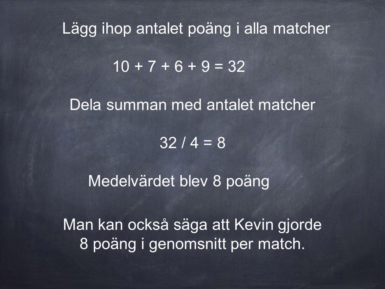 Lägg ihop antalet poäng i alla matcher 10 + 7 + 6 + 9 = 32 Dela summan med antalet matcher 32 / 4 = 8 Medelvärdet blev 8 poäng Man kan också säga att Kevin gjorde 8 poäng i genomsnitt per match.