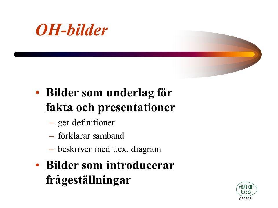 020203 OH-bilder Bilder som underlag för fakta och presentationer –ger definitioner –förklarar samband –beskriver med t.ex.