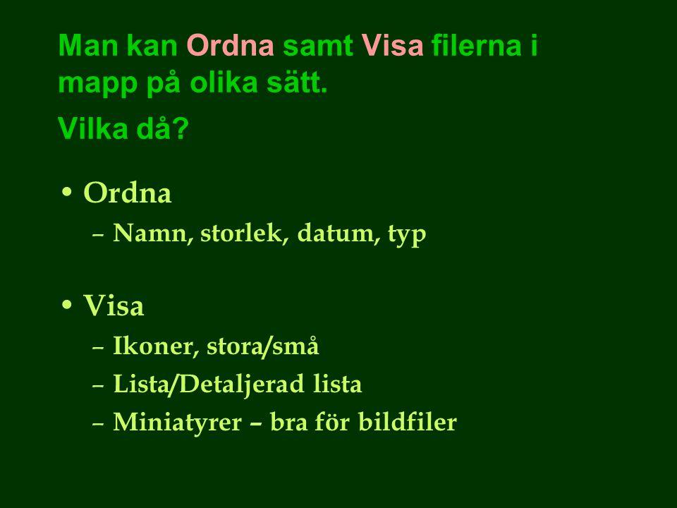 Man kan Ordna samt Visa filerna i mapp på olika sätt.