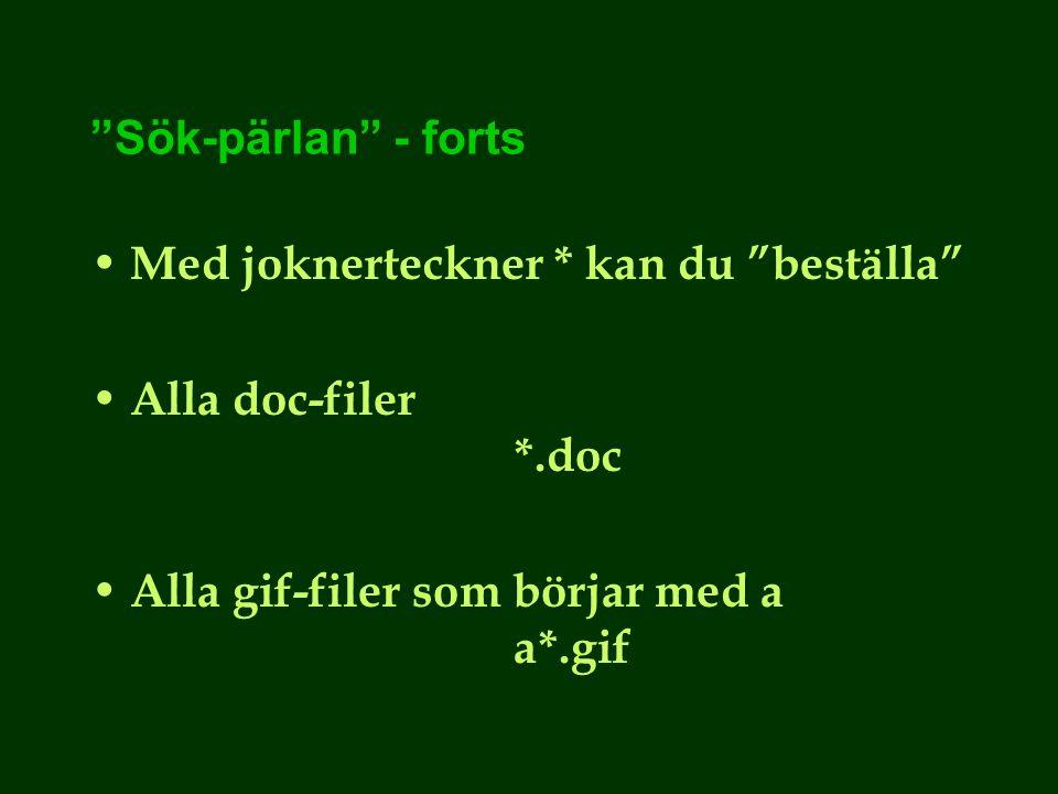 Sök-pärlan - forts Med joknerteckner * kan du beställa Alla doc-filer *.doc Alla gif-filer som börjar med a a*.gif